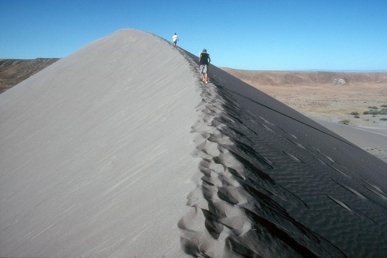 Boys on knife edge of the dunes