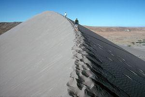 Boy's climbing the dune ridge