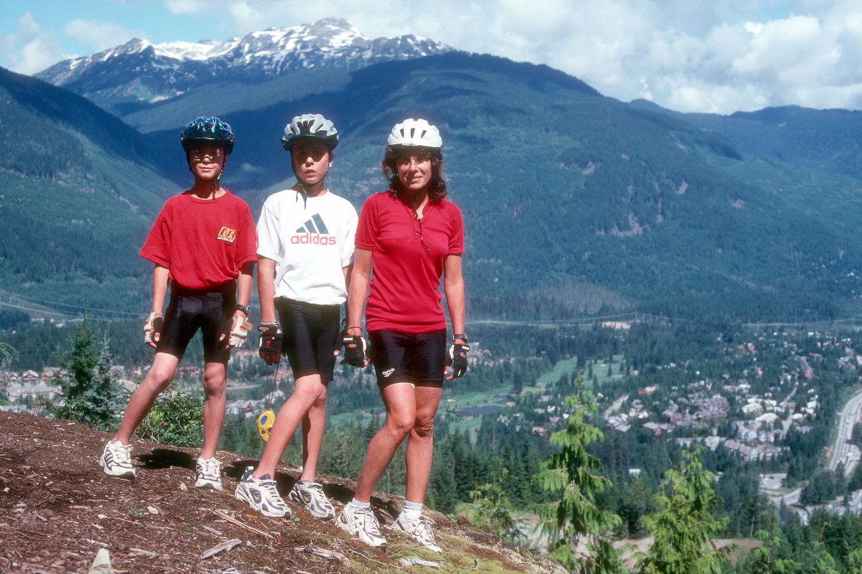 Lolo and boys on Whistler Mountain bike trail