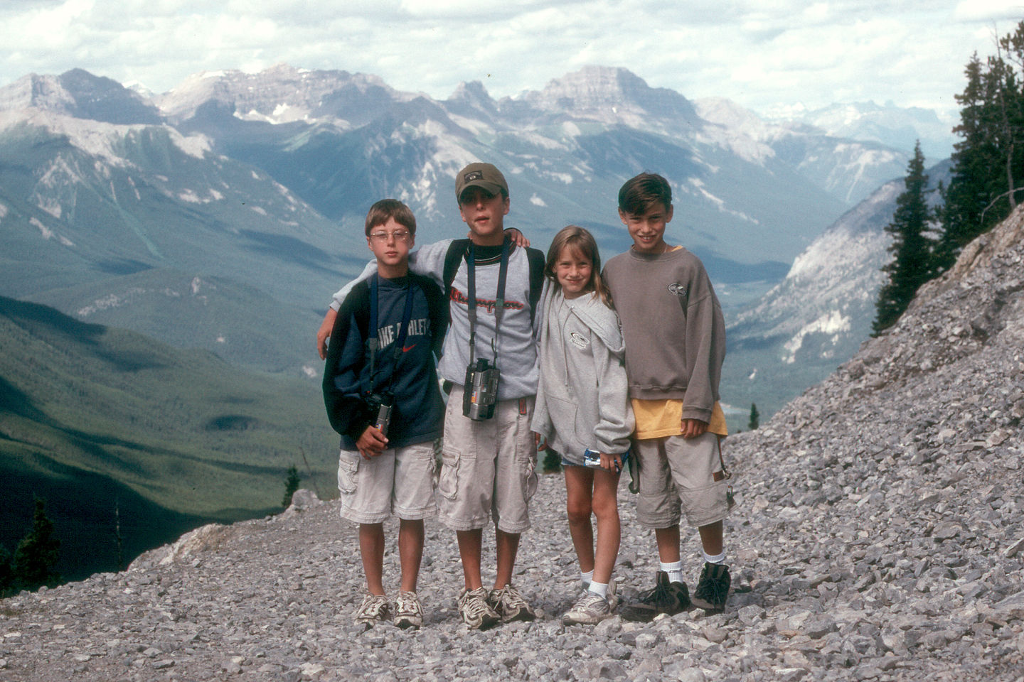 Kids on top of Sulphur Mountain