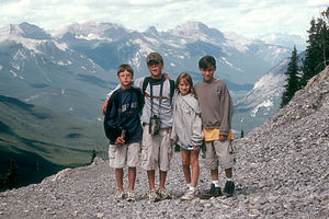 Kids at top of Sulphur Mountain