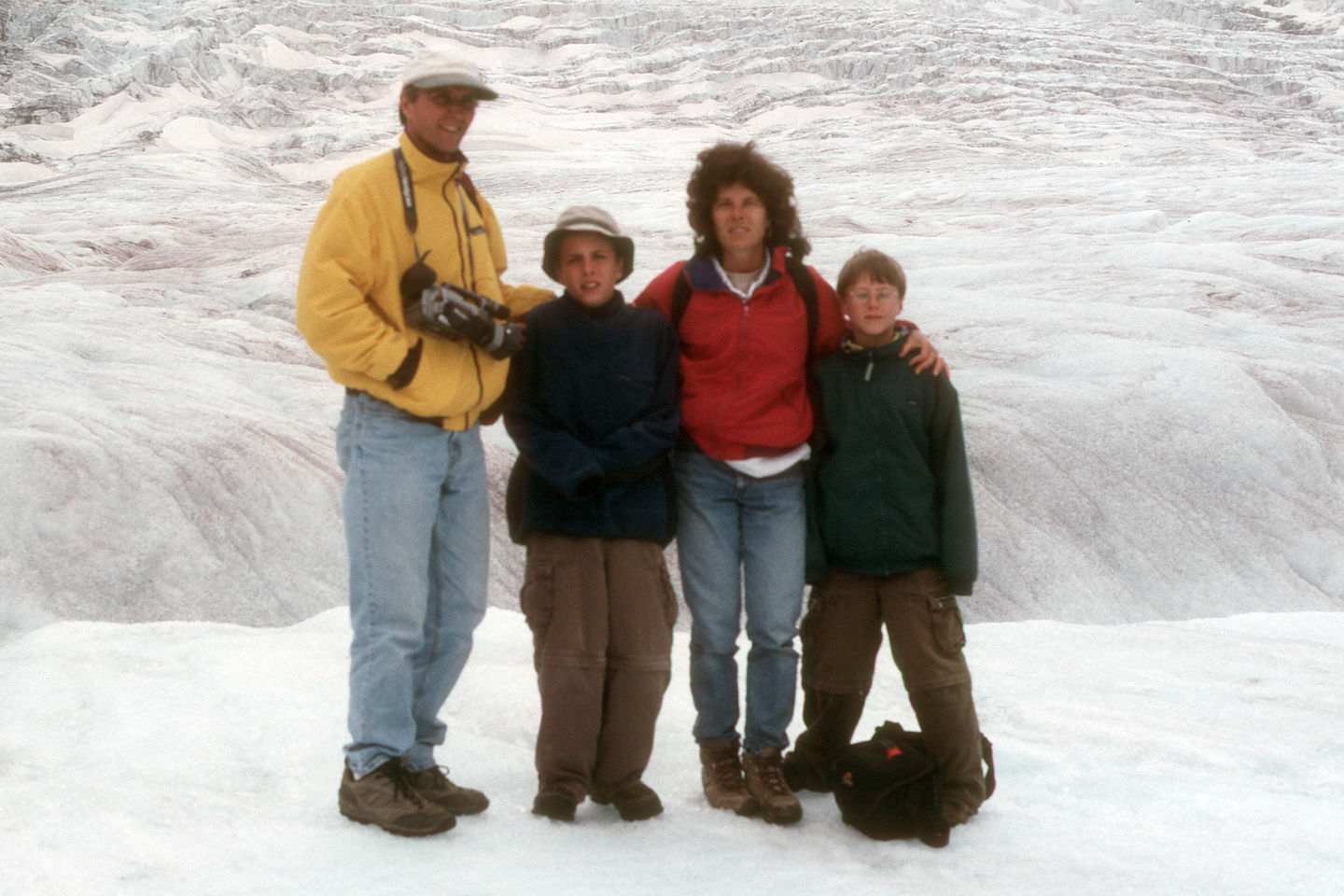 Family on Athabasca Glacier