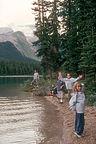 Kids posing on Maligne Lake