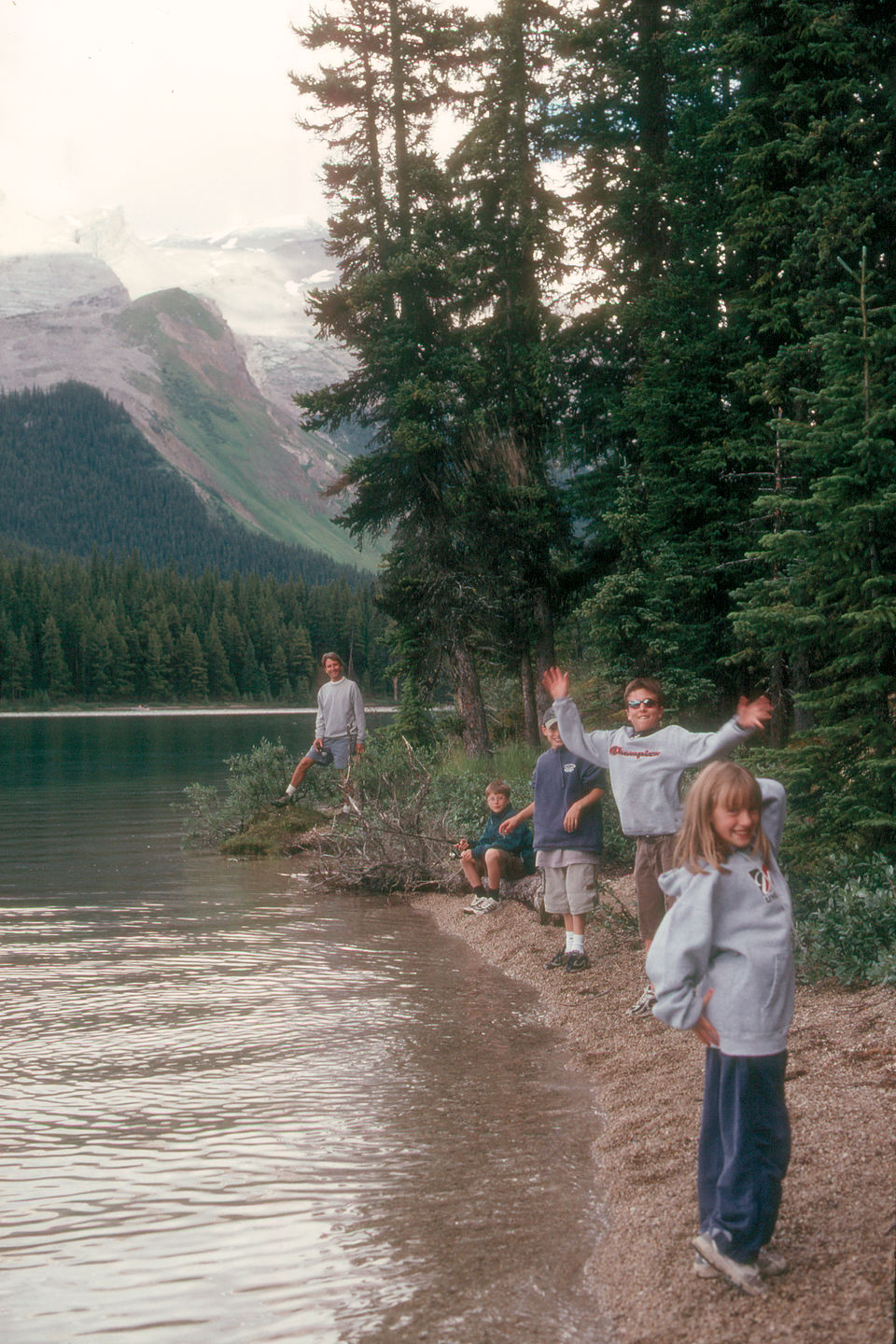 Kids posing on Maligne Lake