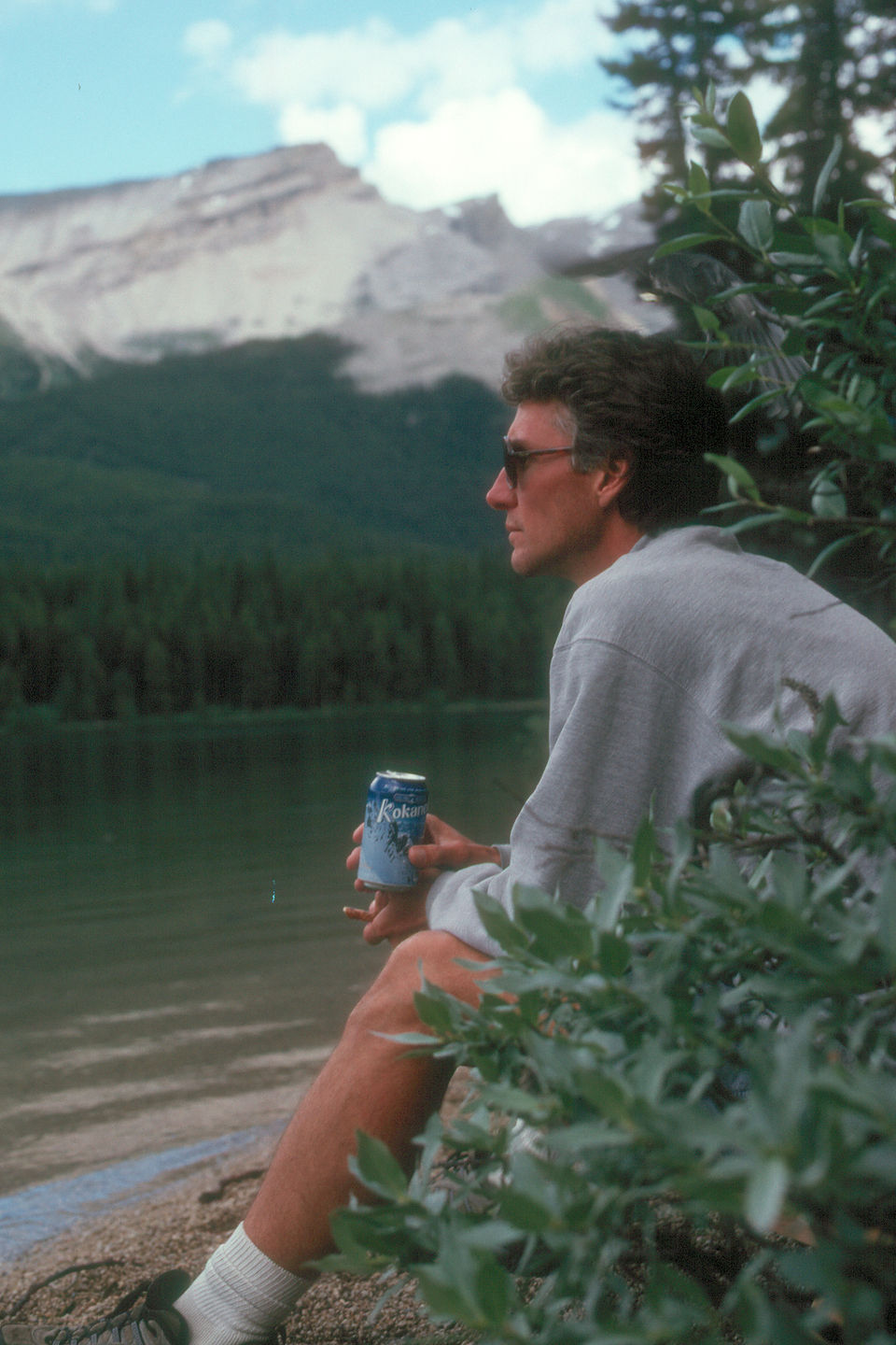 Pensive Herb and beer on Maligne Lake