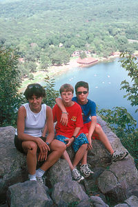 Lolo and boys on East Bluff Trail overlook