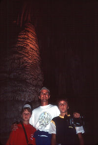 Dad and Kids in Cave