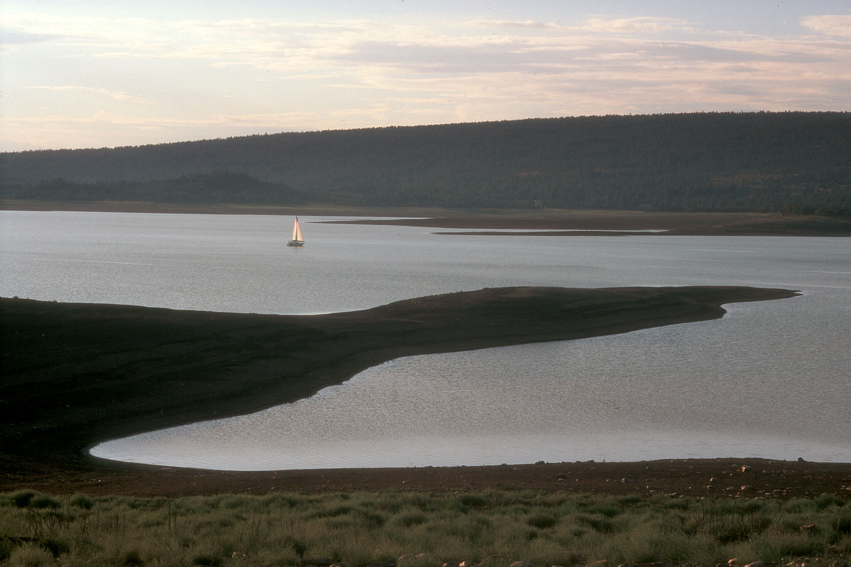 Lone neighbor sailing at dusk
