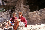 Boys in ancient cliff dwelling