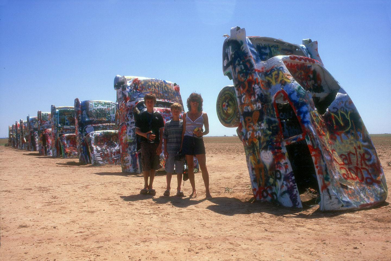 Lolo and the boys at Cadillac Ranch
