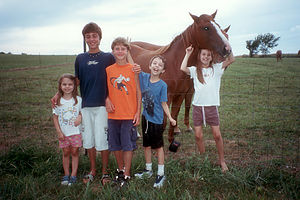 Kids with Kentucky Horse