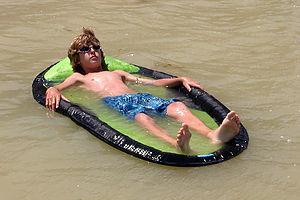Tom relaxing in float