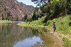 Boys stalking the Green River for trout