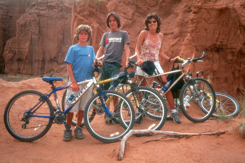 Lolo and boys mountain biking the Panorama Trail
