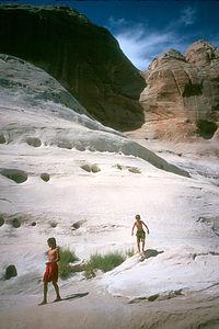Boy's exploring the canyon
