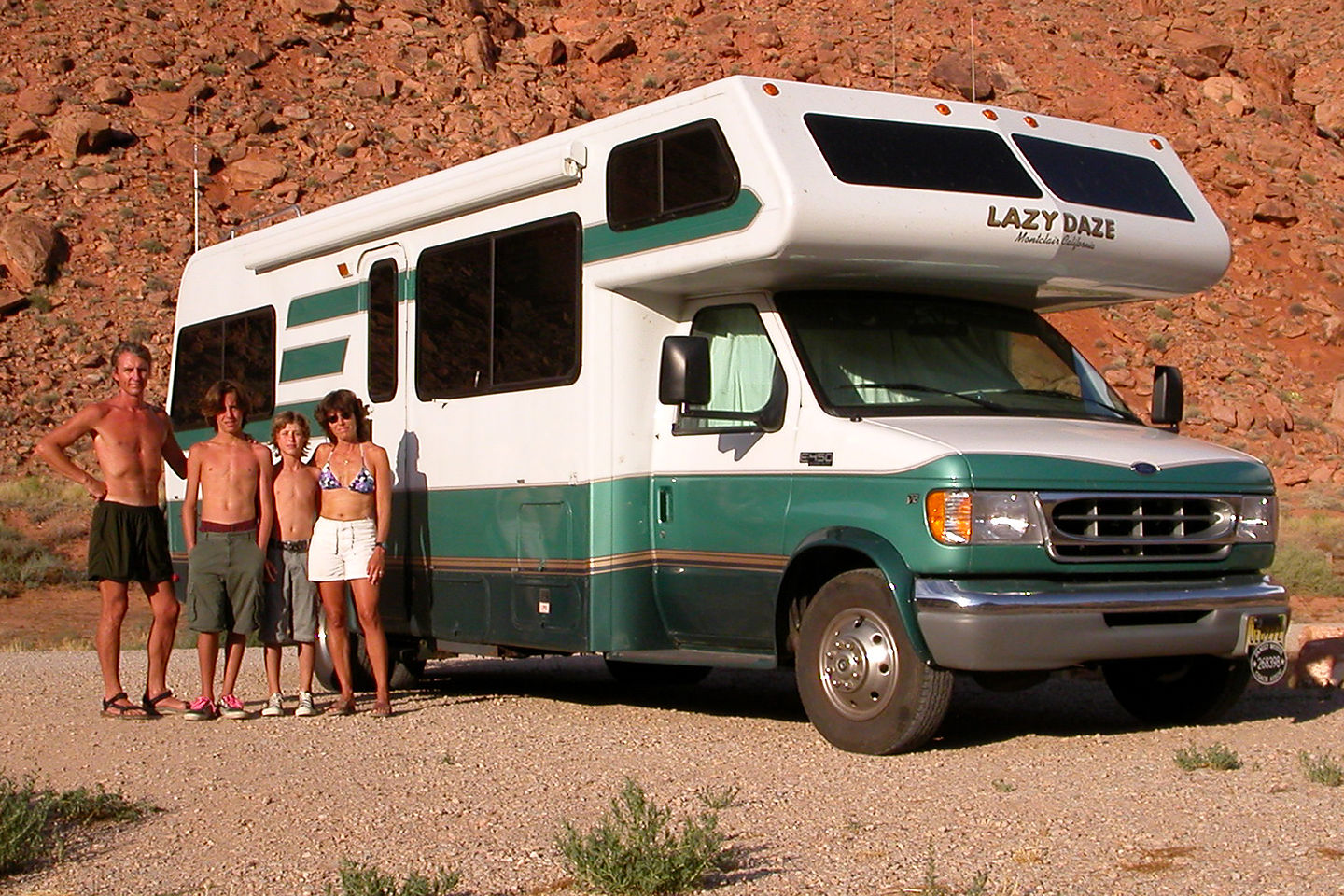 Family by RV along Colorado Riverway