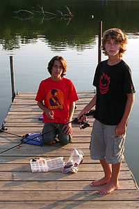 Andrew and Tommy fishing in Prairie Rose State Park