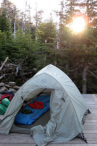 Tent ready before sunset
