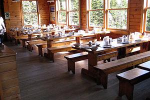 Dinner setup at Mizpah Springs Hut