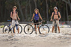 Lolo & Boys getting ready to bike on beach