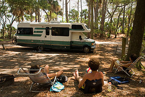 Hunting Island Campsite with Lazy Daze