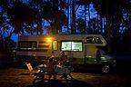 Campsite under palms at dusk