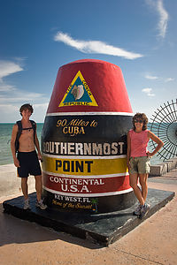 Lolo and Tommy at Southernmost Point Buoy