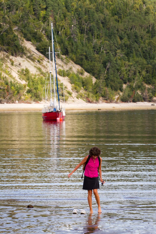 Mom wading the St. Lawrence - TJG