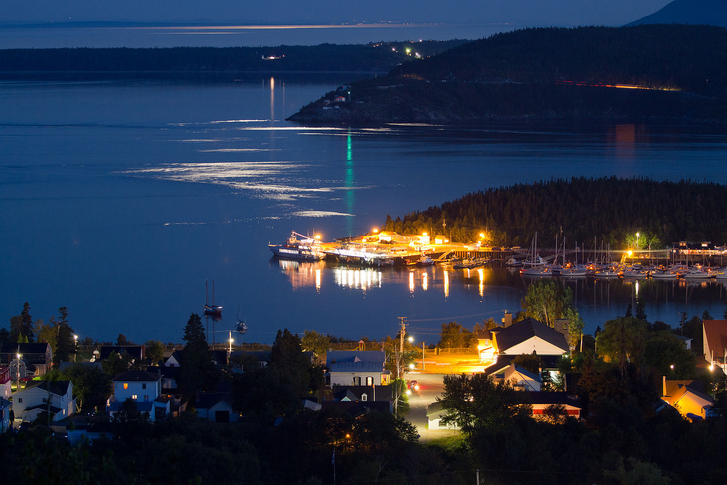 Night View of Tadoussac Village from Campground - TJG