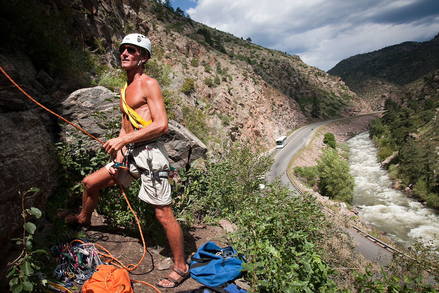 Dad belaying Tom at Clear Creek Canyon - AJG