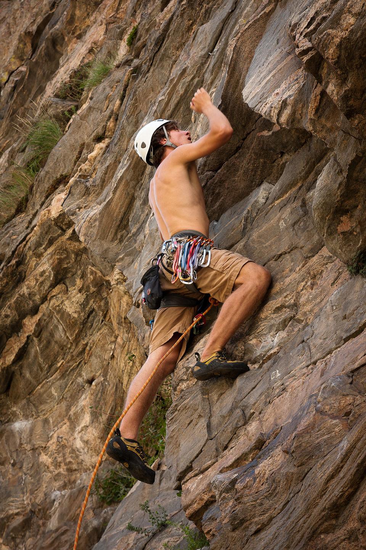 Tom leading Clear Creek Canyon 5.10 - AJG