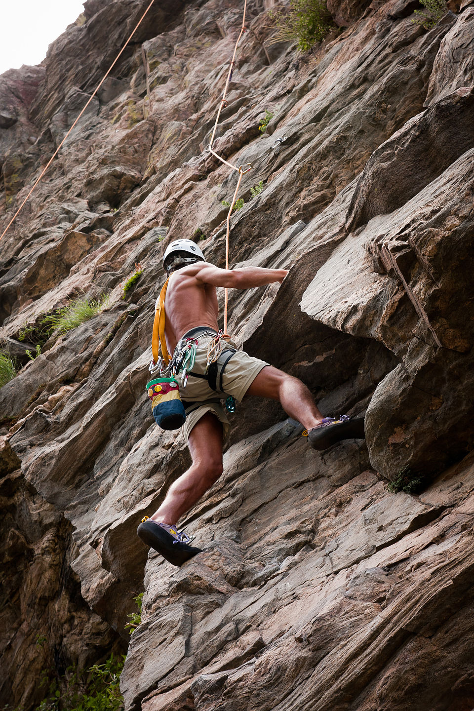 Dad following Clear Creek Canyon 5.10 - AJG
