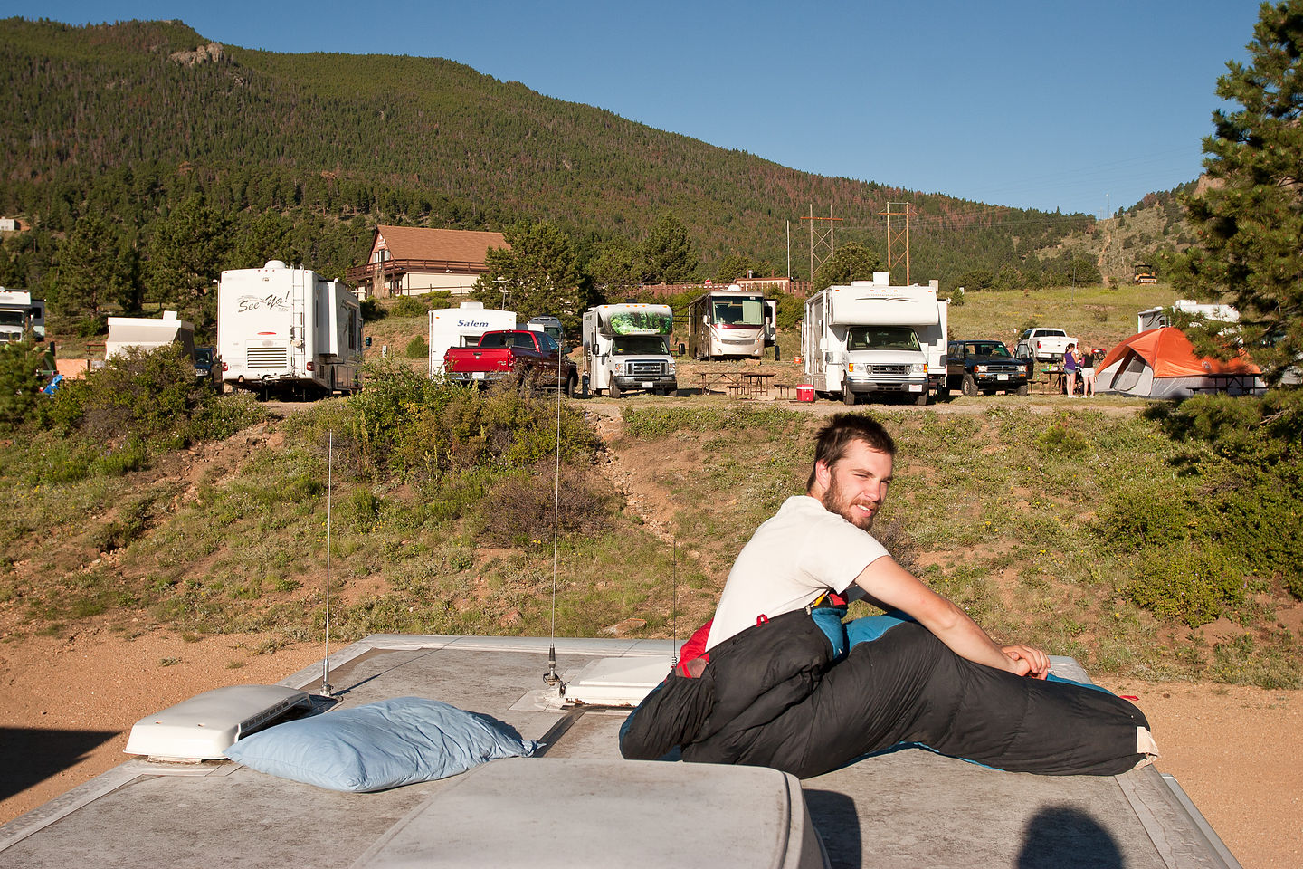John waking up on roof of RV