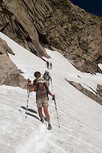 Mom traversing snowfield - TJG