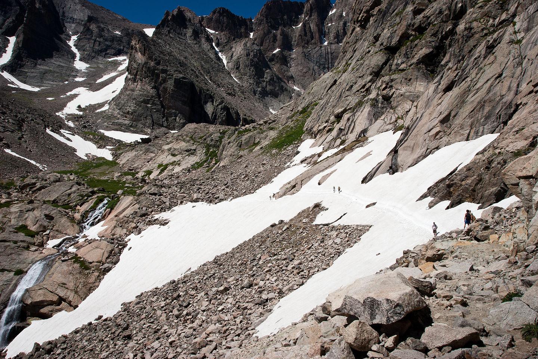 Snowfield traverse on Chasm Lake Hike