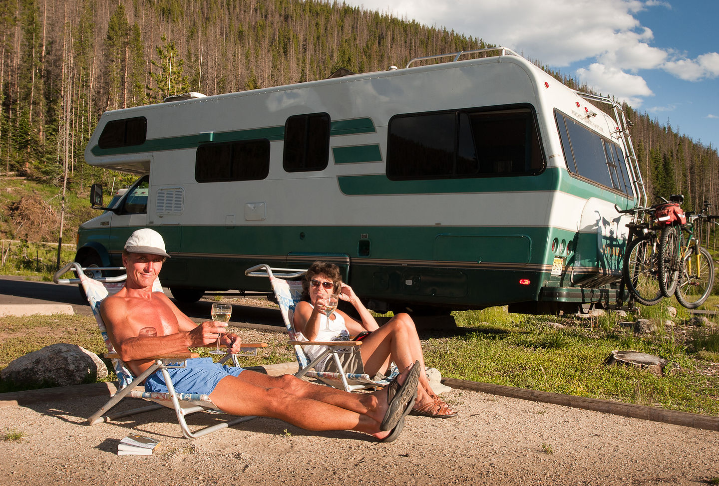 Spouses enjoying a glass of wine at Timber Creek Campground