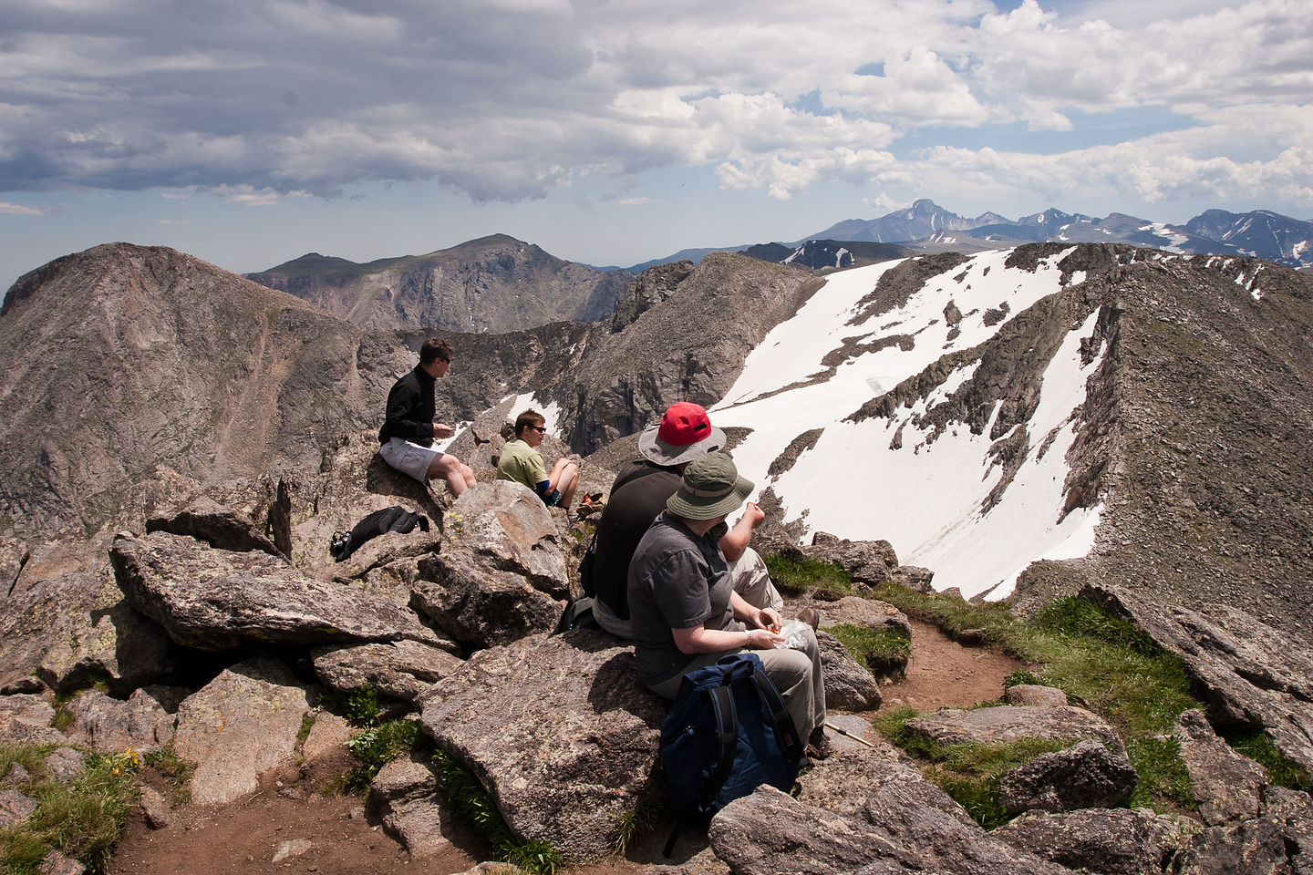 Lunchtime crowd at summit of Mt. Ida