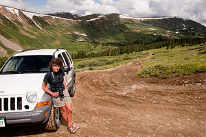 Lolo with Jeep Liberty on Deer Creek Road