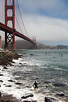 Golden Gate Bridge with Surfers