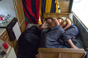 Kids and Celeste Sleeping in RV Kitchen