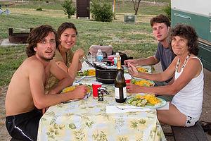 Enjoying Andrew's Annie's Mac, Cheese, and Tuna Dinner