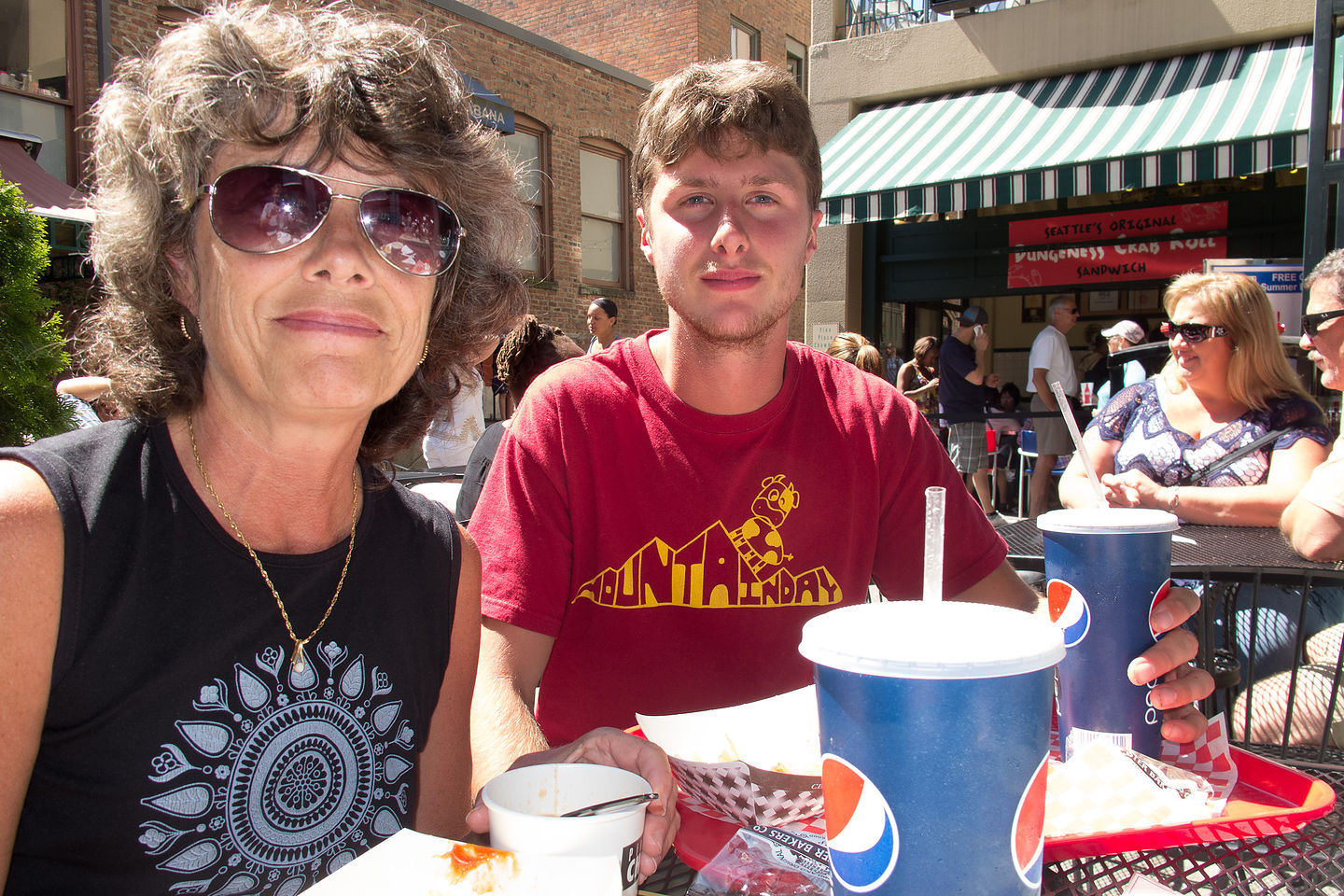 Lolo and Tom dining at Pike Place Chowder