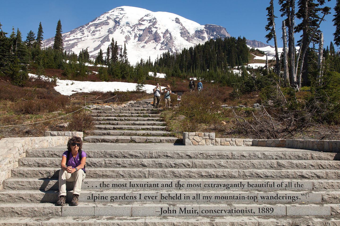 Lolo channeling John Muir for the hike up Mount Rainier