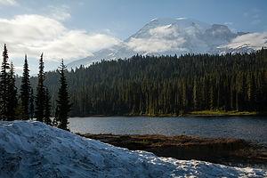 Mount Rainier from Wonderland Trail near Reflection Lakes