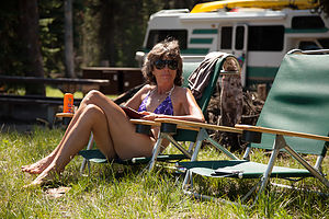 Lolo relaxing at Mazama Campground