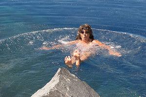 Lolo enjoying the frigid waters of Cleetwood Cove