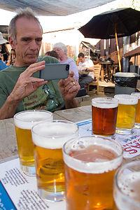 Paul Composing a Photo at Lagunitas Brewery