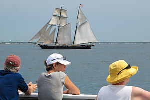 Schooner sailing from deck of MV Ferry