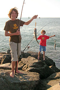 Boys catching fish from Jetty