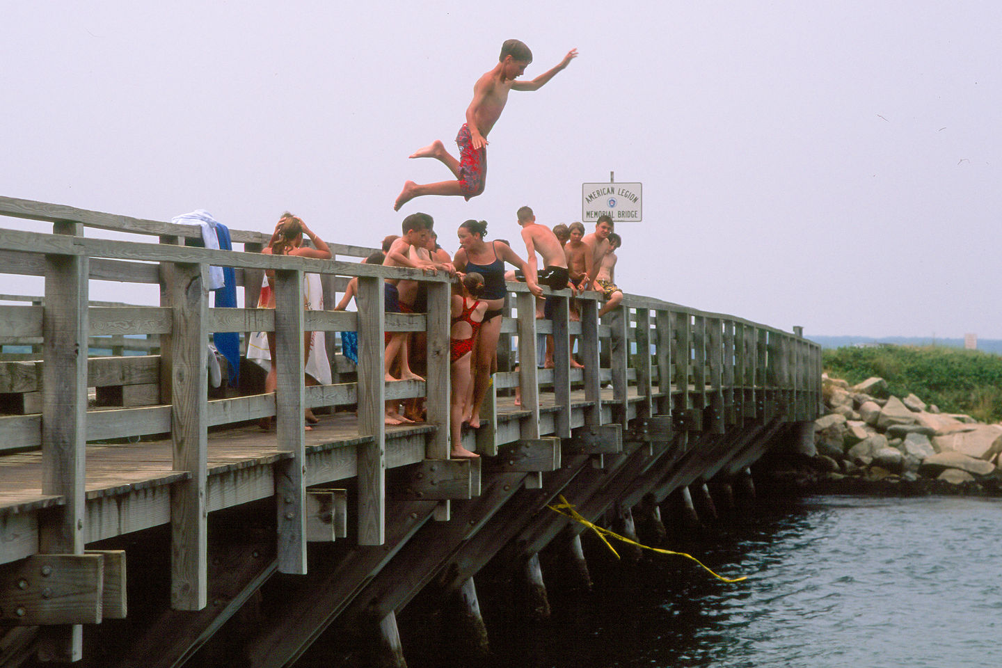 Tommy jumping off Memorial Bridge